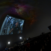 Students at the EKU Hummel Planetarium watching Astronaut Tom Marshburn on the ISS